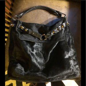 BE&D Huge Calf Hair Leather Black Hobo Studded bag